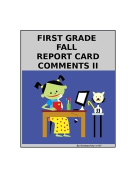 First Grade Beginning-of-the-Year Report Card Comments II