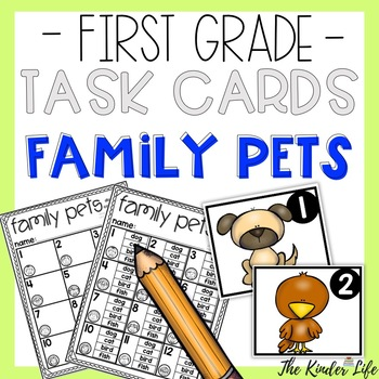 First Grade Family Pets Task Cards Numbers Reading and Writing Animal Names
