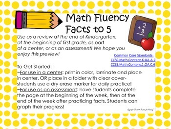 First Grade Fast Facts to 5- Review