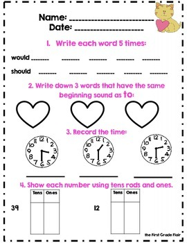 First Grade February Daily Review *Common Core Aligned*