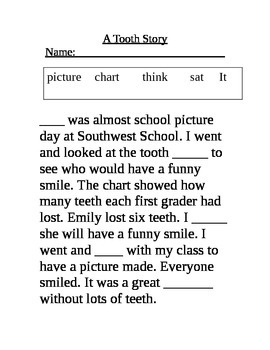 First Grade Fill in the Blank Stories