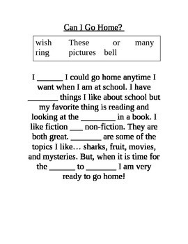 First Grade Fill in the Blank Stories 2