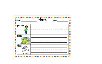 First Grade First Time Learning Nouns - Grammar