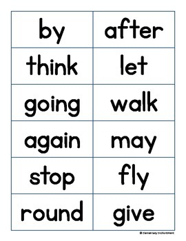 First Grade Flash Cards and Word Wall Cards