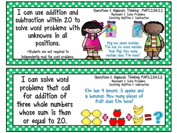 First Grade Florida LAFS & MAFS I Can Statements {Primary Polka Dots}