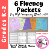 6 Fry High Frequency Words Fluency Packets (First 150 Word