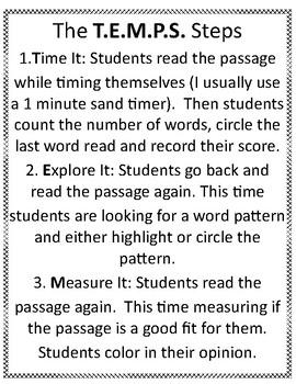 First Grade Fluency Practice Short a -T.E.M.P.S