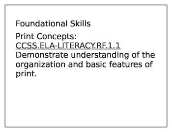 First Grade Foundational Skills Common Core Standards
