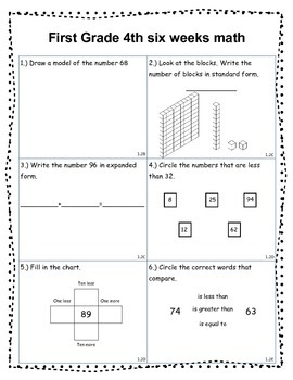 Math Assessment Place Value, Fact Families, Fractions