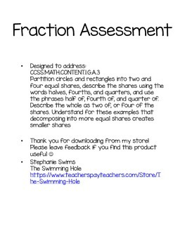 First Grade Fractions Assessment