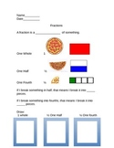 First Grade Fractions Introduction Sheet
