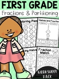 First Grade Fractions and Partitioning Worksheets - Distance Learning