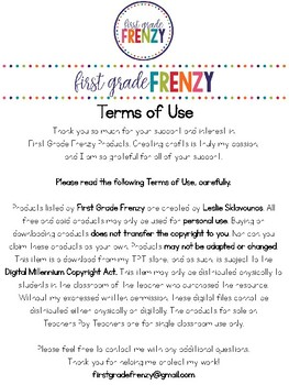 First Grade Frenzy Terms of Use