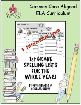 1st Grade Spelling Lists For the Whole Year!Differentiated & Common Core Aligned
