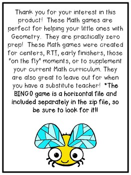 First Grade Geometry Math Games