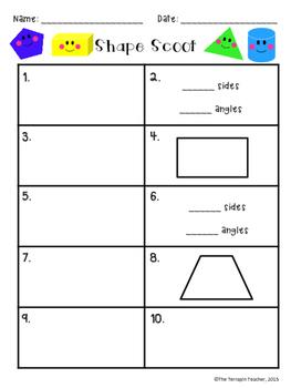 First Grade Geometry Math Scoot