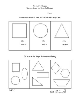 First Grade Common Core Geometry Shapes Assessment