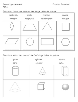 first grade geometry assessment by carrie 39 s creations tpt. Black Bedroom Furniture Sets. Home Design Ideas