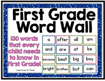 First Grade Glitter Word Wall Printables