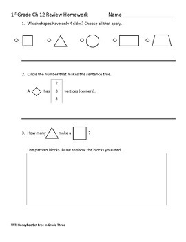 First Grade Go Math Chapters 1-12 Review Homework BUNDLE