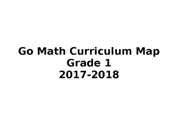 First Grade Go Math Curriculum Calendar