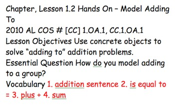 First Grade Go Math Objectives and Essential Questions Ch. 1-12