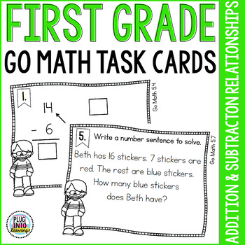 First Grade Math Task Cards: Addition and Subtraction Rela