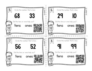 First Grade Math Task Cards: Comparing Numbers