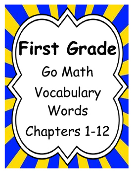 First Grade Go Math Vocabulary Word Cards with Blanks