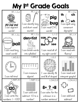 First Grade Goals Skill Sheet (1st Grade Common Core Standards Overview)