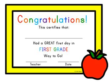 First Day of School Certificate - First Grade  / Grade One