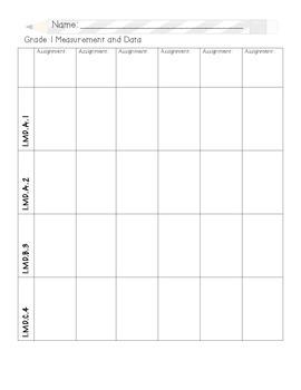 First Grade Grade Record Sheet - Math
