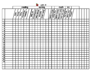 First grade grading sheet master template by christine for Free gradebook template