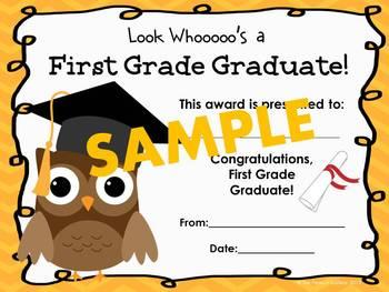 First Grade Graduation Certificates (Owl Theme)