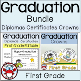 First Grade Graduation Diplomas Certificates Crowns BUNDLE End of the Year