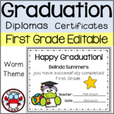 First Grade Graduation Diplomas Certificates End of the Year