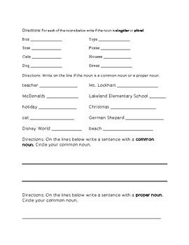 First Grade Grammar Review Assessment