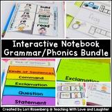 First Grade Grammar and Phonics Interactive Notebook Bundle