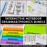 First Grade Grammar and Phonics Interactive Notebook Bundle Distance Learning