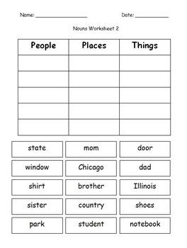 First Grade Grammar/Writing Categorizing Nouns Cut and Paste Worksheet Packet