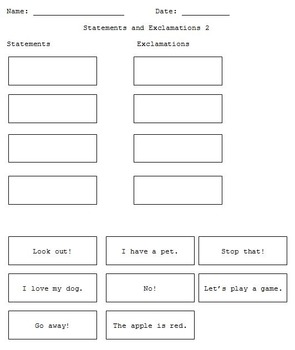 First Grade Grammar/Writing Categorizing Statements and Exclamations Packet