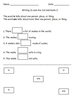 First Grade Grammar/Writing Is and Are Cut and Paste Worksheets