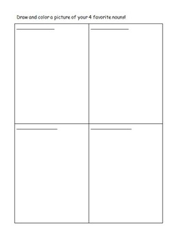 First Grade Grammar/Writing List and Draw Nouns 2 Page Worksheet