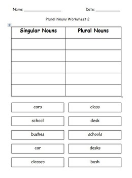 First Grade Grammar/Writing Plural Nouns Cut and Paste Worksheet Packet