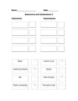 First Grade Grammar/Writing Statement and Exclamations w/