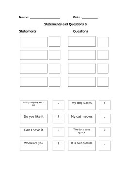 First Grade Grammar/Writing Statement and Questions w/ End Marks Packet
