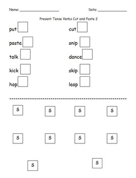 First Grade Grammar/Writing Verbs Ending w/ -S Cut and Paste Worksheet Packet