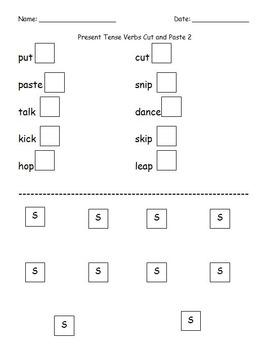 First Grade Grammar/Writing Verbs Ending w/ -S Cut and Paste Worksheet Packet