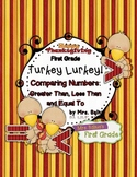 First Grade Greater, Less, Equal {Turkey Lurkey} Comparing