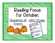 First Grade Guided Reading For October